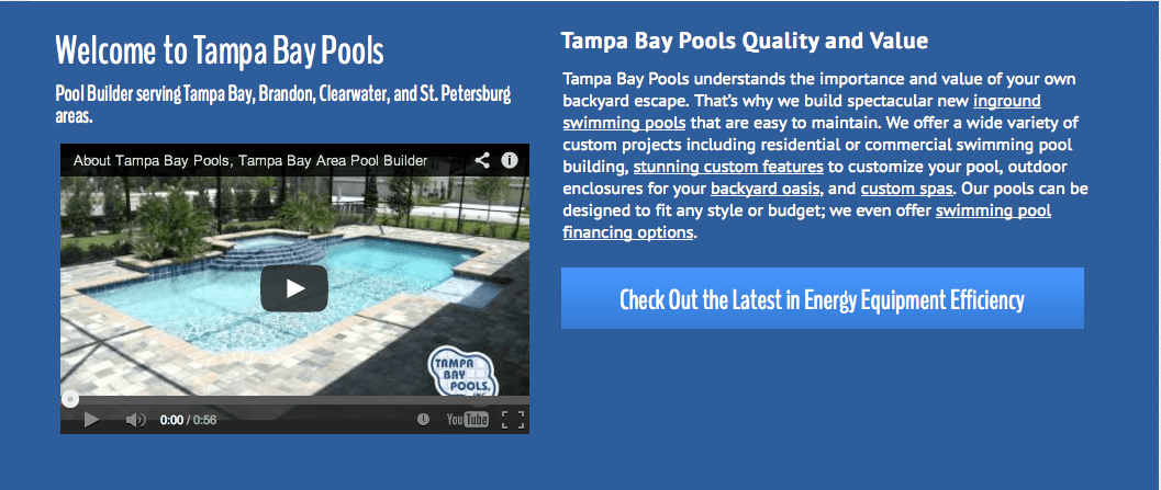 Client Profile: Tampa Bay Pools | Pool Marketing Site Digital and Inbound Marketing Agency Houston
