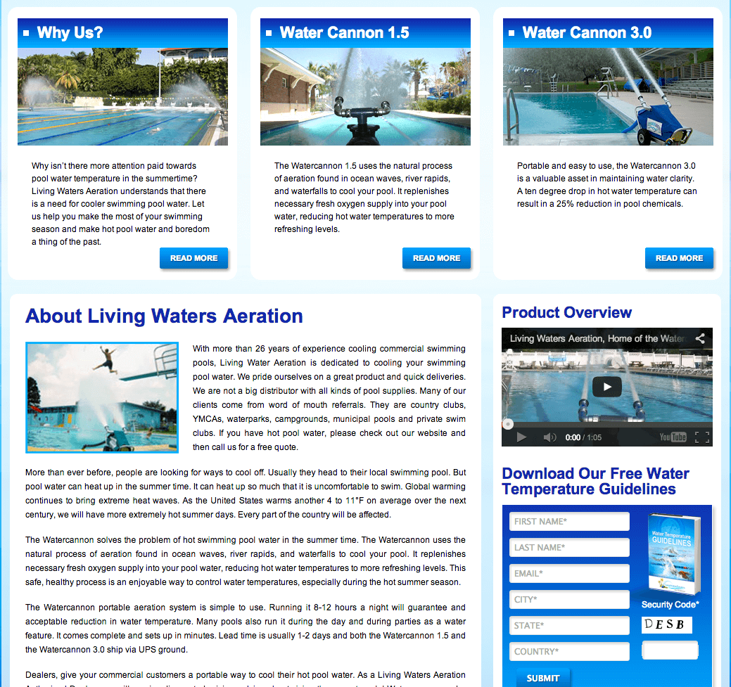 Client Profile: Living Water Aeration | Pool Marketing Site Digital and Inbound Marketing Agency