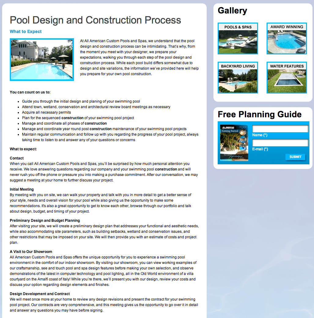 Client Profile: All American Pools | Pool Marketing Site Digital and Inbound Marketing Agency Houston