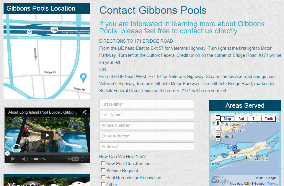 Gibbons Pools Contact Us Long Island New York