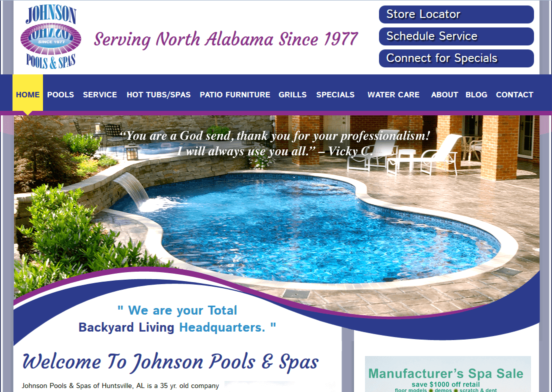Client Profile: Johnson Pools and Spas | Pool Marketing Site Digital and Inbound Marketing Agency Houston