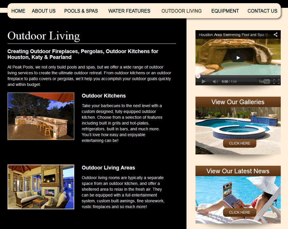 Client Profile: Peak Pools | Pool Marketing Site Digital and Inbound Marketing Agency Houston