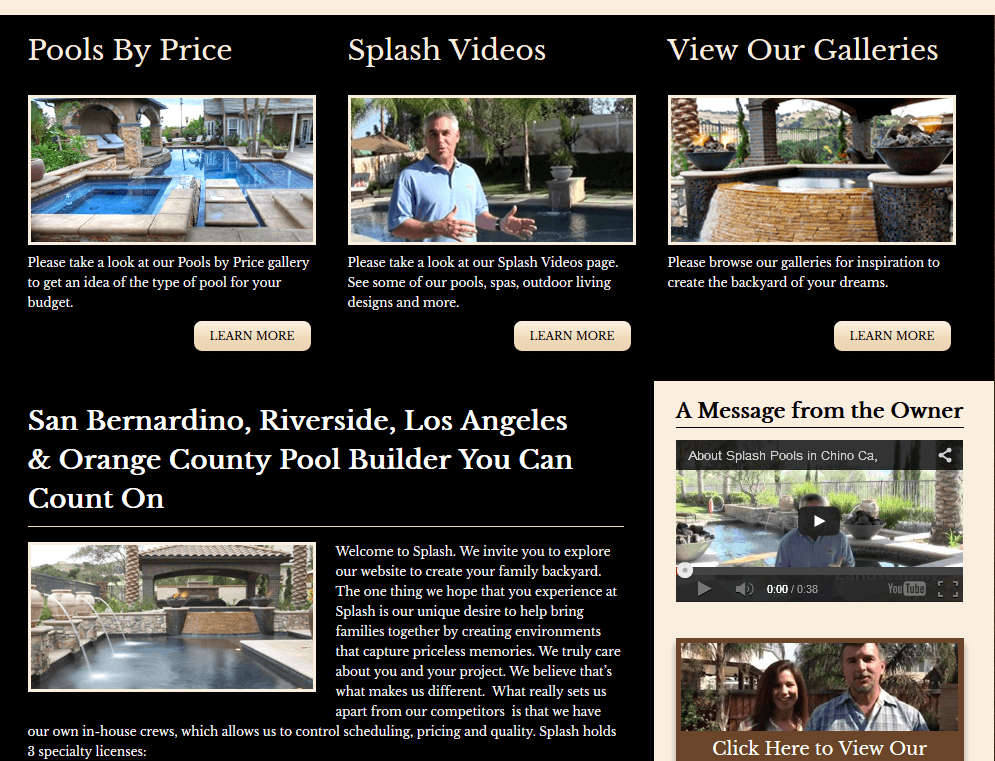 Client Profile: Splash Pools and Construction | Pool Marketing Site Digital and Inbound Marketing Agency Houston